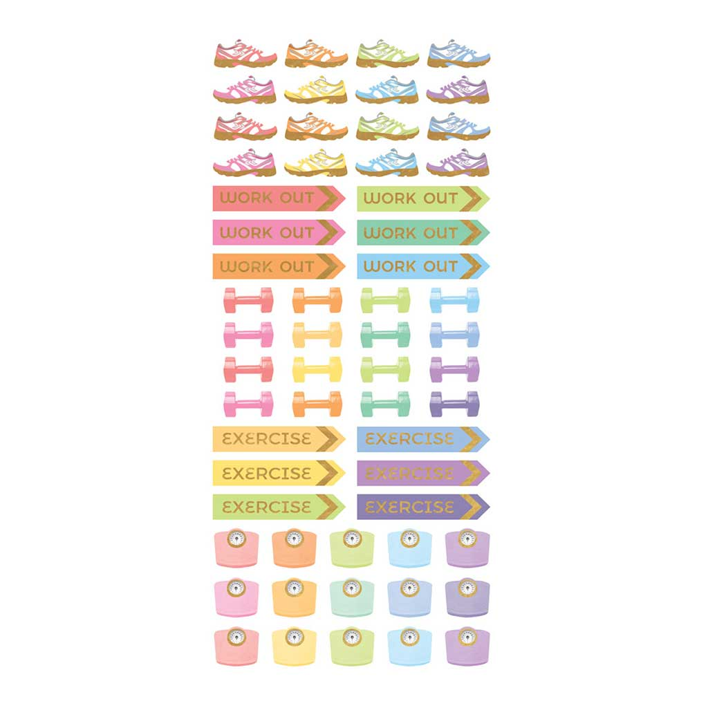 Workout Planner Functional Stickers Pastel Color