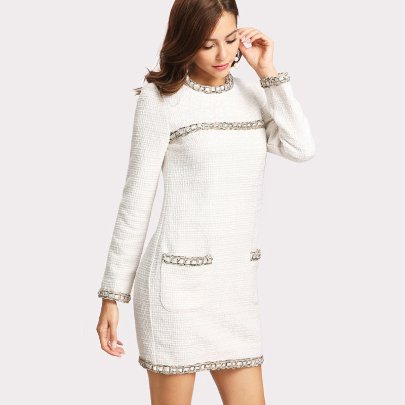 f90cb609b164 ... white-bodycon-casual-long-sleeve-short-summer-dress- ...