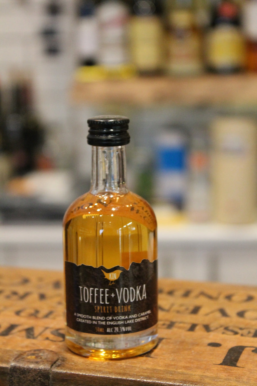 kin toffee vodka miniature bottle