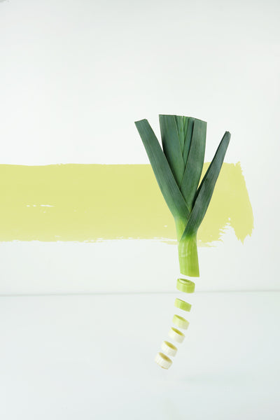 chopped leek on a yellow background