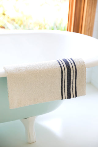 Navy Striped Edge Cotton Bath Towel