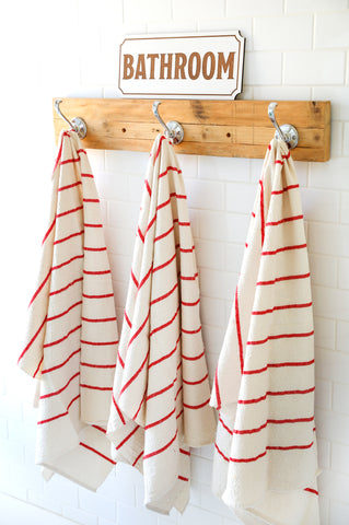 Red Stripe Cotton Bath Towels