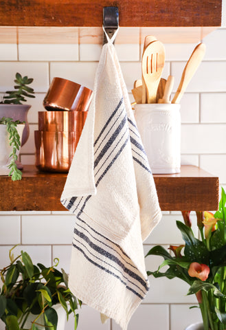 Navy Stripe Cotton Tea Towel