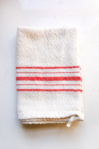 Red Stripe Cotton Tea Towel