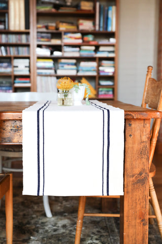 Striped Cotton Table Runner in Navy