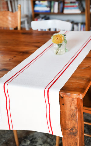 Red Stripe Cotton Table Runner
