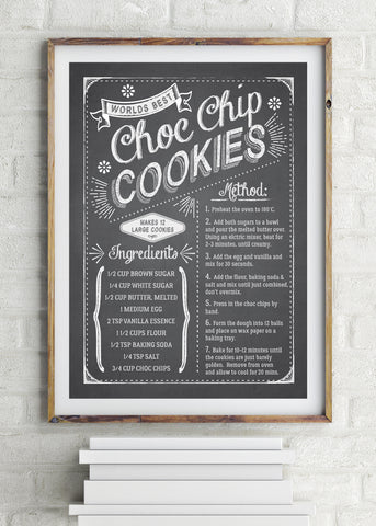Choc Chip Cookies Recipe Printed Poster