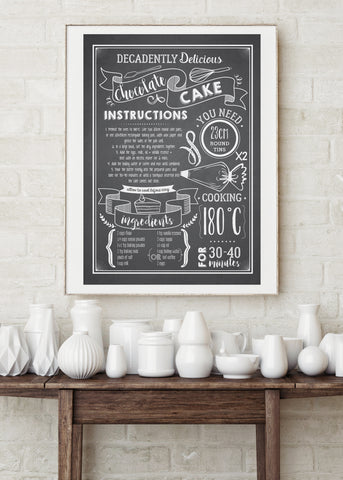 Chocolate Cake Recipe Printed Kitchen Poster