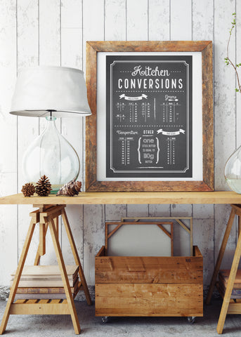 Kitchen Conversion Chart Printed Poster