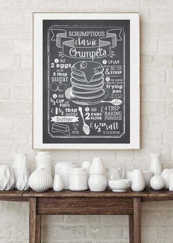 Crumpets Recipe Printed Poster