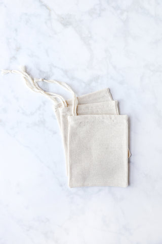 Cotton Baguette Drawstring Bag Natural Light Cream