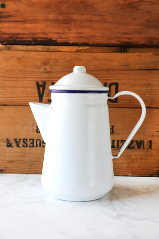 White Enamel Coffee Pot