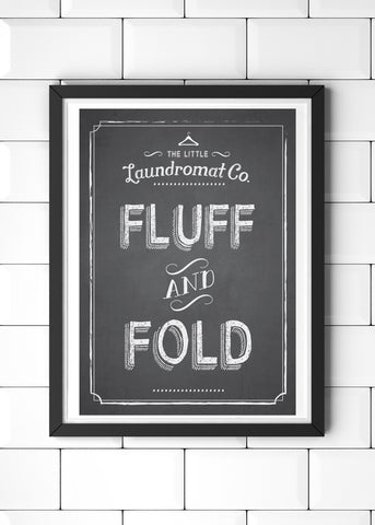 Wash, Dry, Fluff and Fold Printed Laundry Posters Set