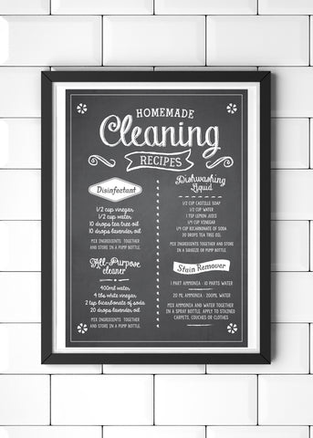 Homemade Cleaning Recipes Printed Kitchen Poster