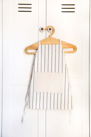 Kids Apron for Boys - Natural Cotton Ticking Apron Farmhouse Style