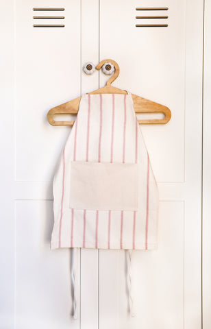 Kids Apron Girl - Natural Cotton Ticking Apron Farmhouse Style