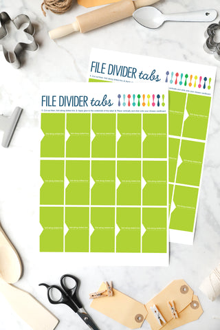 Green File Divider Tabs for Recipe Binder Instant Download