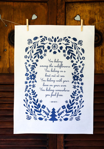 Navy Blue Poetry Cotton Tea Towel Tom Petty Song
