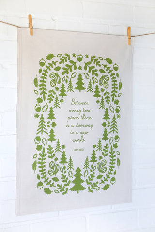 Olive Green Poetry Cotton Tea Towel John Muir Poetry