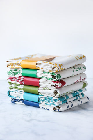 Floral Tea Towels Set of 6 - Cotton Tea Towels - Poetry Tea Towels - 20% discount