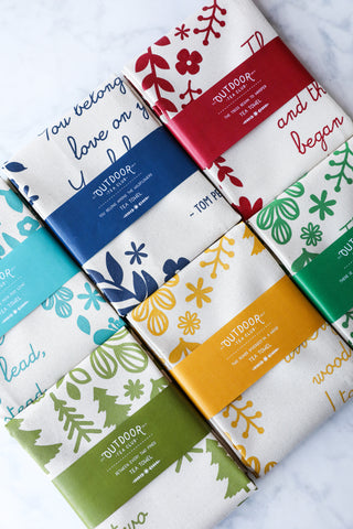 Floral Tea Towels Set of 3 - Cotton Tea Towels - Poetry Tea Towels - 15% discount