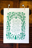 Poetry tea towel Lord Byron Pathless Woods Forest Green