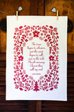 Tennyson Poetry Tea Towel Ruby Red