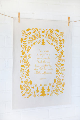 Robert Frost Poem Yellow Cotton Tea Towel with Floral Wreath Two Roads Diverged in a Wood