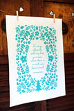 Teal Blue Cotton Poetry Tea Towel Ralph Waldo Emerson