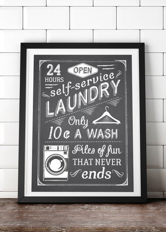 Fluff & Fold Laundry Poster Instant Digital Download
