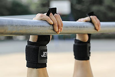 Leather gymnastics grips 3 hole hand grips with wrist support Palm Protection - Everyday Crosstrain