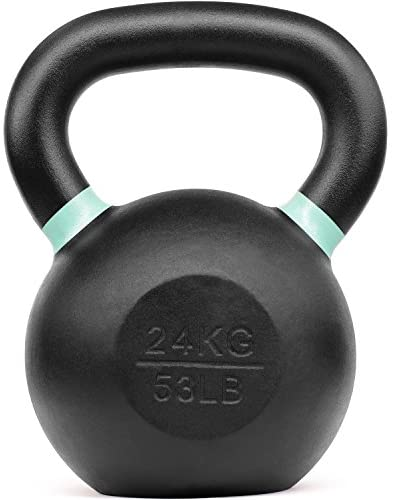 Powder Coated Kettlebell Weights with Wide Handles & Flat Bottoms