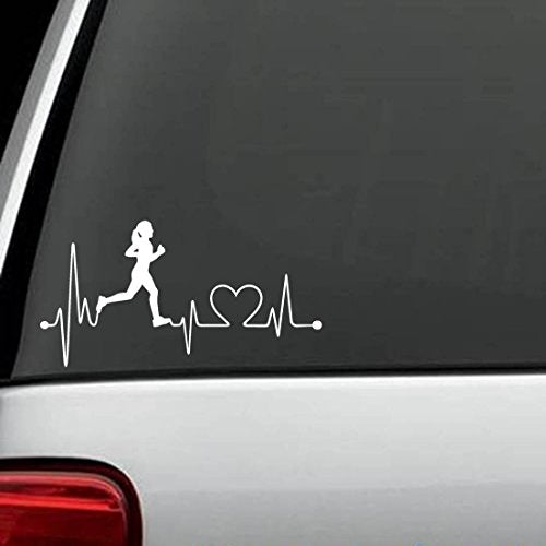 Girl running Marathon Heartbeat Vinyl Decal Sticker - 13.1 26.2  Miles. 42 Km - Everyday Crosstrain