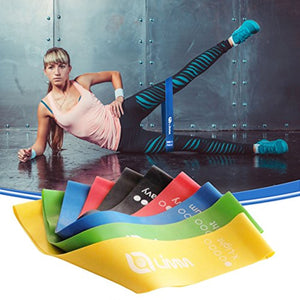 Multi-Color Limm Resistance Bands Exercise Loops - 12-inch Full 1 Set of 5