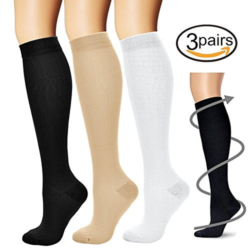 Compression Socks (3 pairs) for Men & Women - Best for Sports, Crossfit, Travel - Everyday Crosstrain