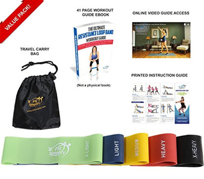 Resistance Loop Exercise Bands with Carry Bag and Instruction Guide - Set of 5 - Everyday Crosstrain