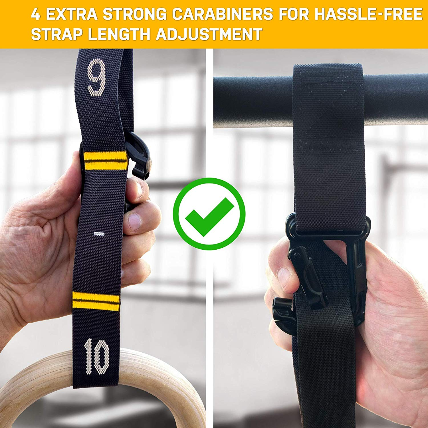 Bodyweight Gymnastic Rings (Rings + Competition Straps). Quick adjustment, Heavy Duty