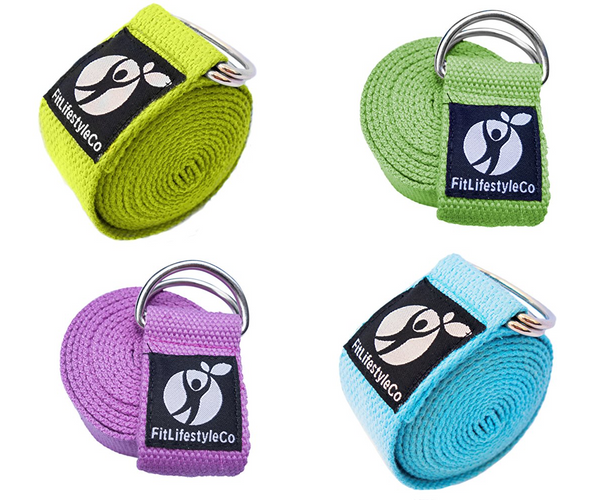 Yoga Strap - Best For Stretching - 6 Colors - Durable Cotton With Metal D-Ring