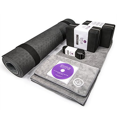 Premium Yoga Set Kit 8 Pieces Equipment, Mat, Blocks, Towels, Stretch Strap, Bag - Everyday Crosstrain