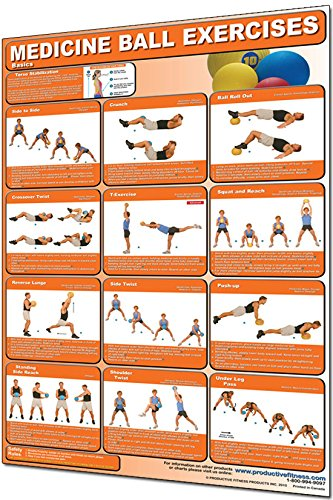 Laminated Medicine Ball Exercises (Basics) Poster. Get fit, Strengthen your Core - Everyday Crosstrain