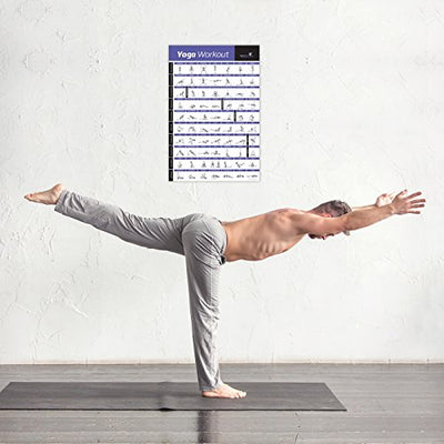 Laminated Yoga Workout Exercise Poster - Premium Instructional Essential Poses - Everyday Crosstrain