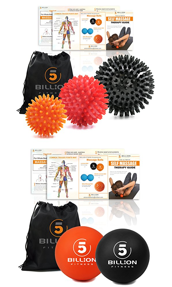 Lacrosse Massage Balls. Deep Tissue Massage Tool for Stress Relieve Relaxation