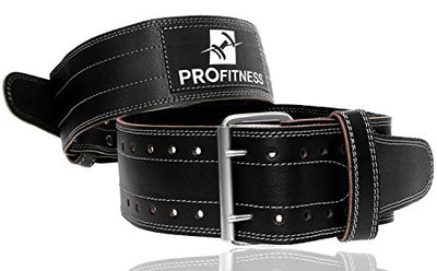 ProFitness Genuine Leather Workout Belt (4 Inches Wide) - Proper Weight lifting Form - Lower Back Support for Squats, Deadlifts, CrossFit - Everyday Crosstrain