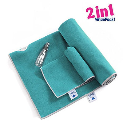 Non Slip Extra Thick Yoga Towel plus Hand Towel 2 in1 Set.  Super Absorbent - Everyday Crosstrain