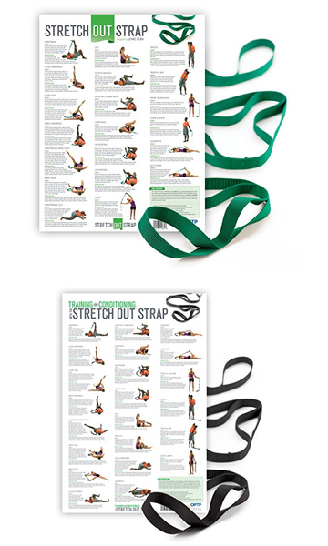 Original Stretch Out Strap with Exercise Poster. Top Choice of Athletic Trainers - Everyday Crosstrain