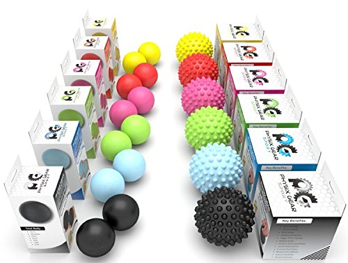 Massage Ball Spiky or Lacrosse Ball Roller Set for Deep Tissue Rehab Reflexology - Everyday Crosstrain