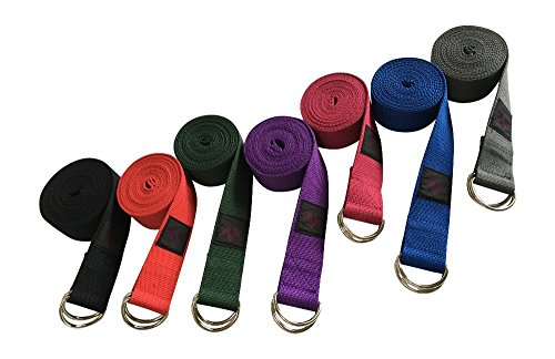 Yoga Strap – Durable and Adjustable Cotton Exercise Straps (8FT or 10FT) D-Ring - Everyday Crosstrain