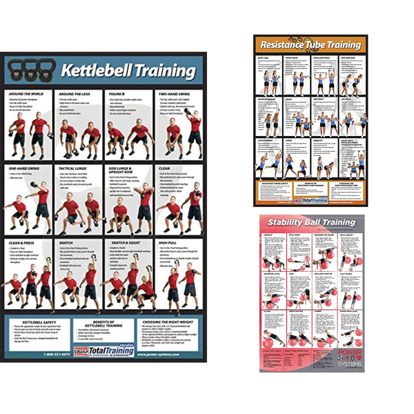 Training Exercise Laminated Poster - Kettlebell, Resistance Tube, Stability Ball - Everyday Crosstrain