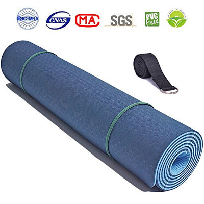 Eco Friendly Non Slip Exercise TPE Yoga Mat with Strap for Men and Women - Everyday Crosstrain