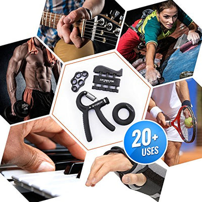 4 Pack Set of Hand Grip Strengthener, Grip Ring, Finger Exerciser and Stretcher - Everyday Crosstrain